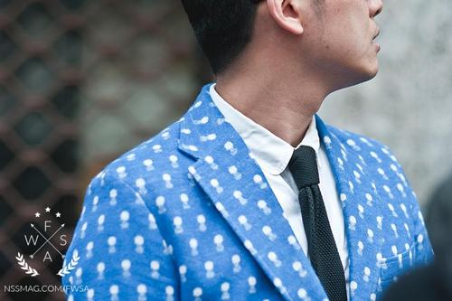 printed blazer blue